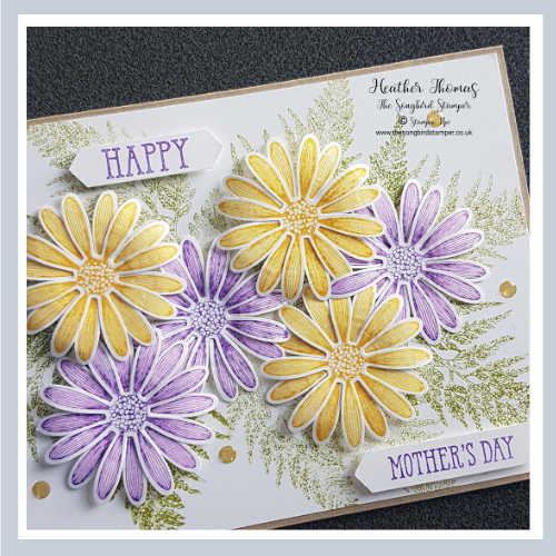 A picture of a card with yellow and purple flowers showing  how to make a Mother's Day card using the Daisy Lane stamp set from Stampin' Up!