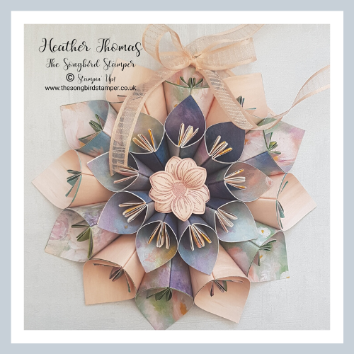 A gorgeous flower wreath using the Perennial Essence papers from Stampin' Up!
