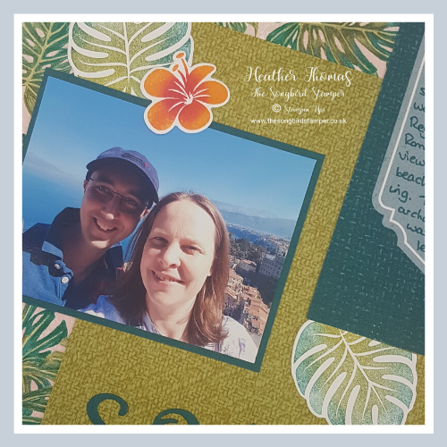 Scrapbooking using the Stampin' Up! Tropical Oasis Memories and More card packs.
