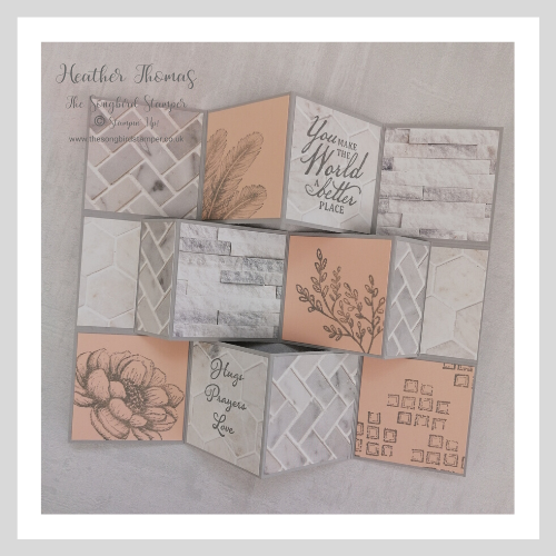 Multi-fold card using Stampin' Up Tasteful Touches bundle and In Good Taste DSP