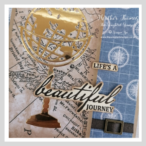 Close up of handmade card using the World of Good DSP and the Beautiful World bundle