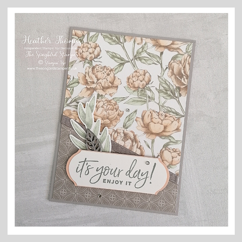 A handmade card made from Designer series paper or stamped images