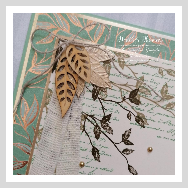 close up of a handmade card which mix and matches different stamping supplies