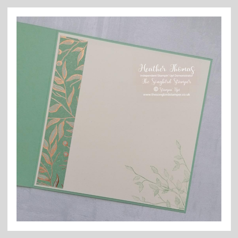 The inside of a handmade card