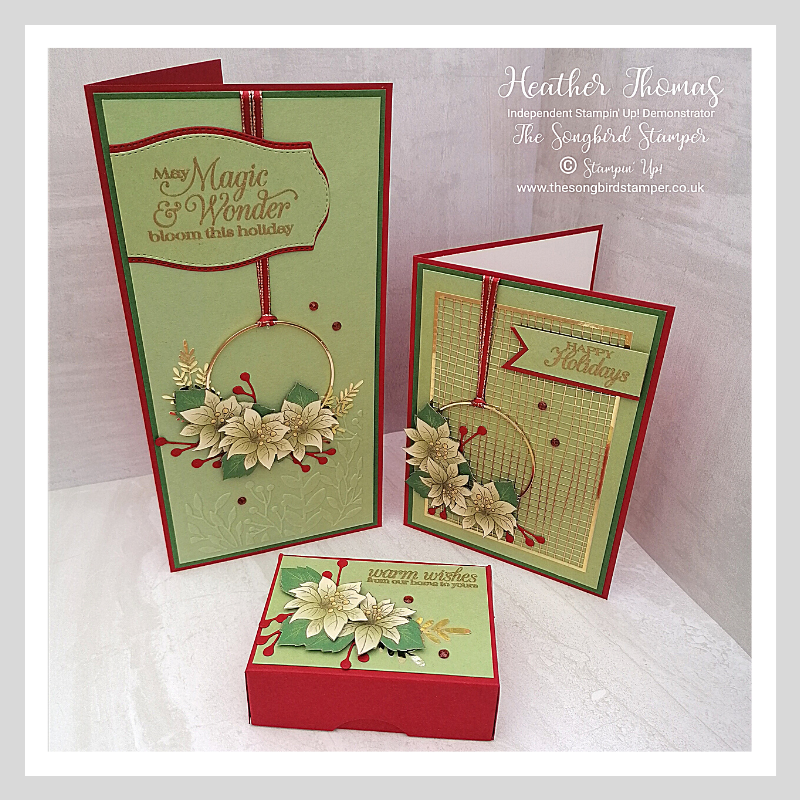 A trio of handmade cards and a box using the Poinsettia Place suite of products from Stampin' Up!