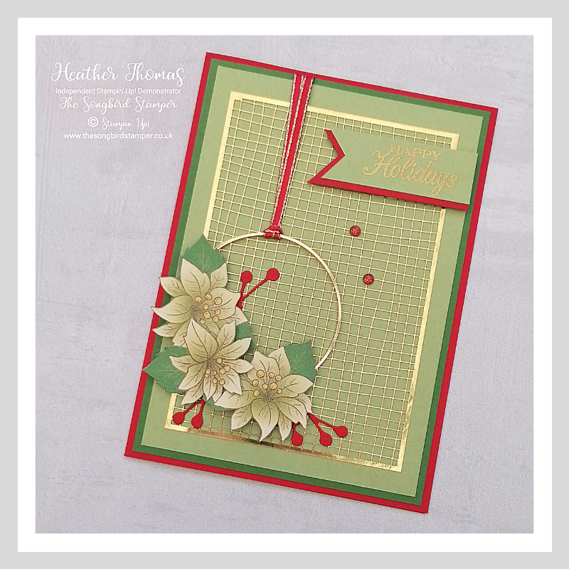 A C6 handmade card using the flowers from the Poinsettia Place DSP from Stampin' Up!
