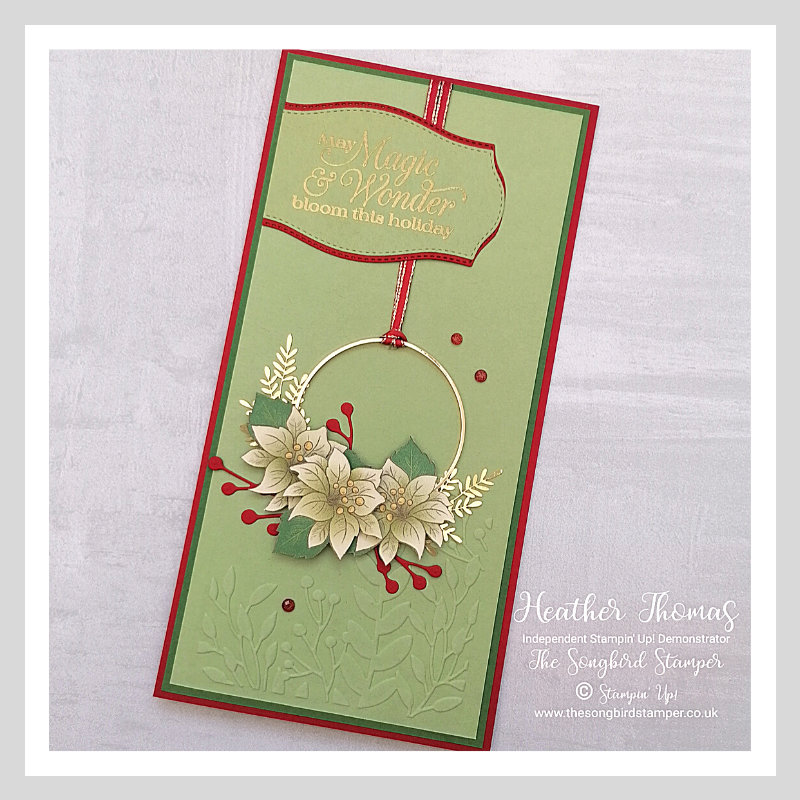 A slimline, or DL card using Stampin' Up products, including those from the Forever Greenery suite of products.