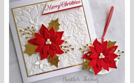 A handmade luxury Christmas card and matching gift tag