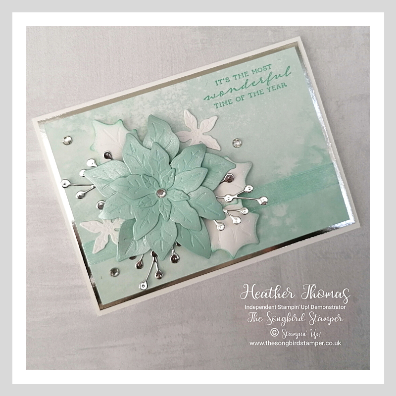 A Wintry Christmas Card made using the Poinsettia Dies from Stampin' Up!