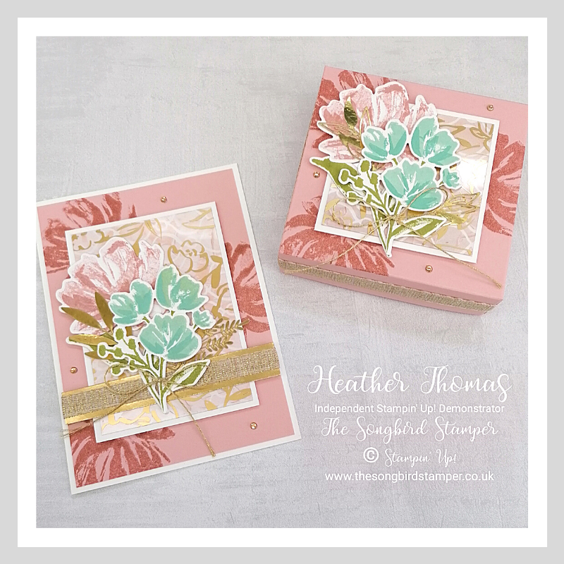 A pink version of the projects made in my 'how to make a gift box, with matching card' video
