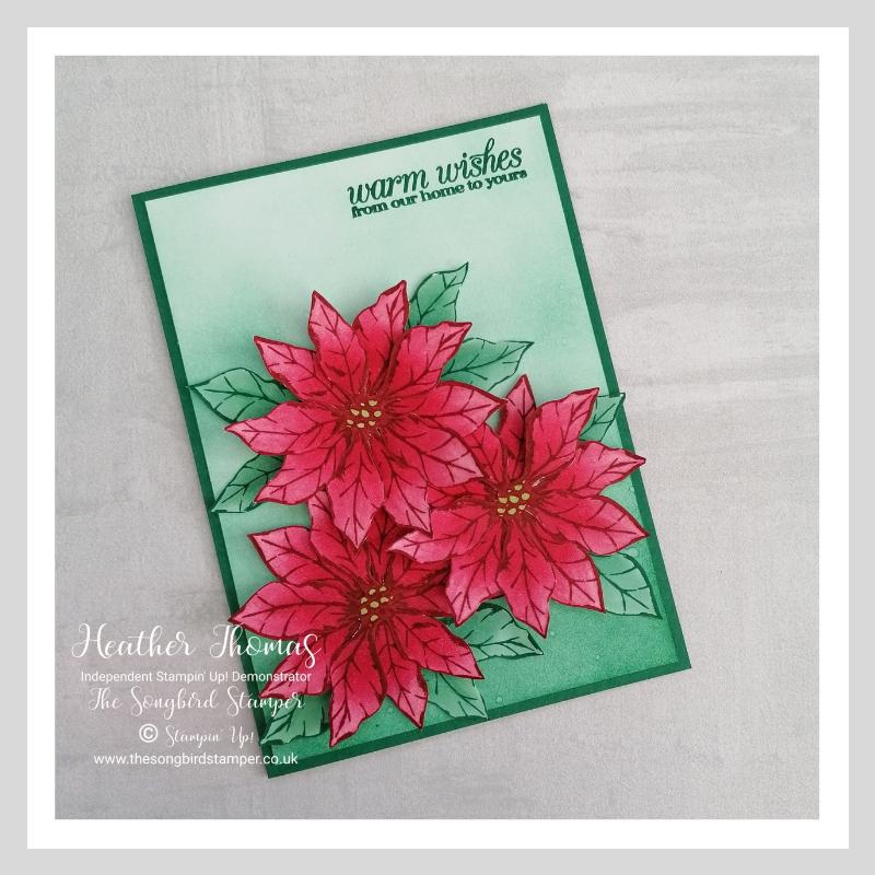 A handmade card using the Poinsettia Petals bundle from Stampin' Up!