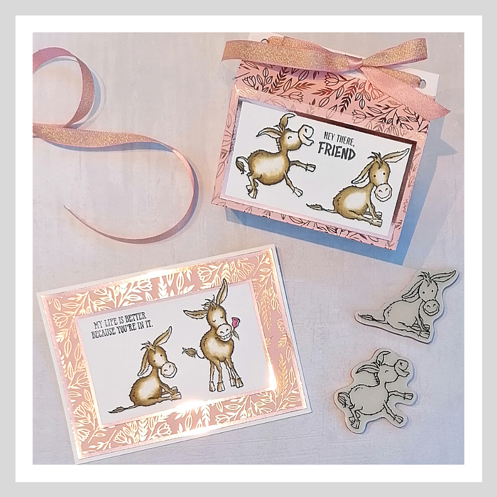 A matching card and gift bag using the Darling Donkeys stamp set from Stampin' Up!