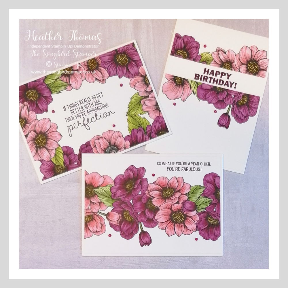 A trio of handmade cards using the True Love Designer Series Paper fomr Stampin' Up!