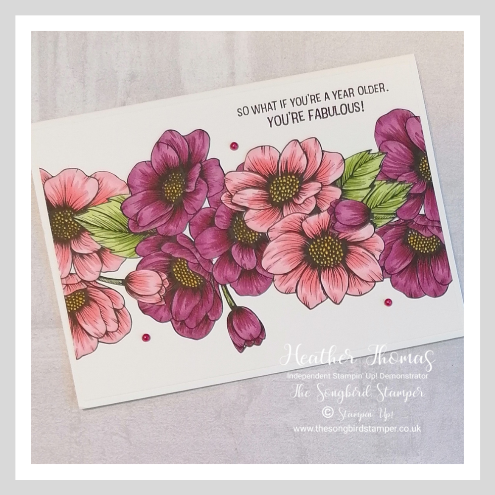 The True Love Designer Series Paper coloured in with the Stampin' Blends