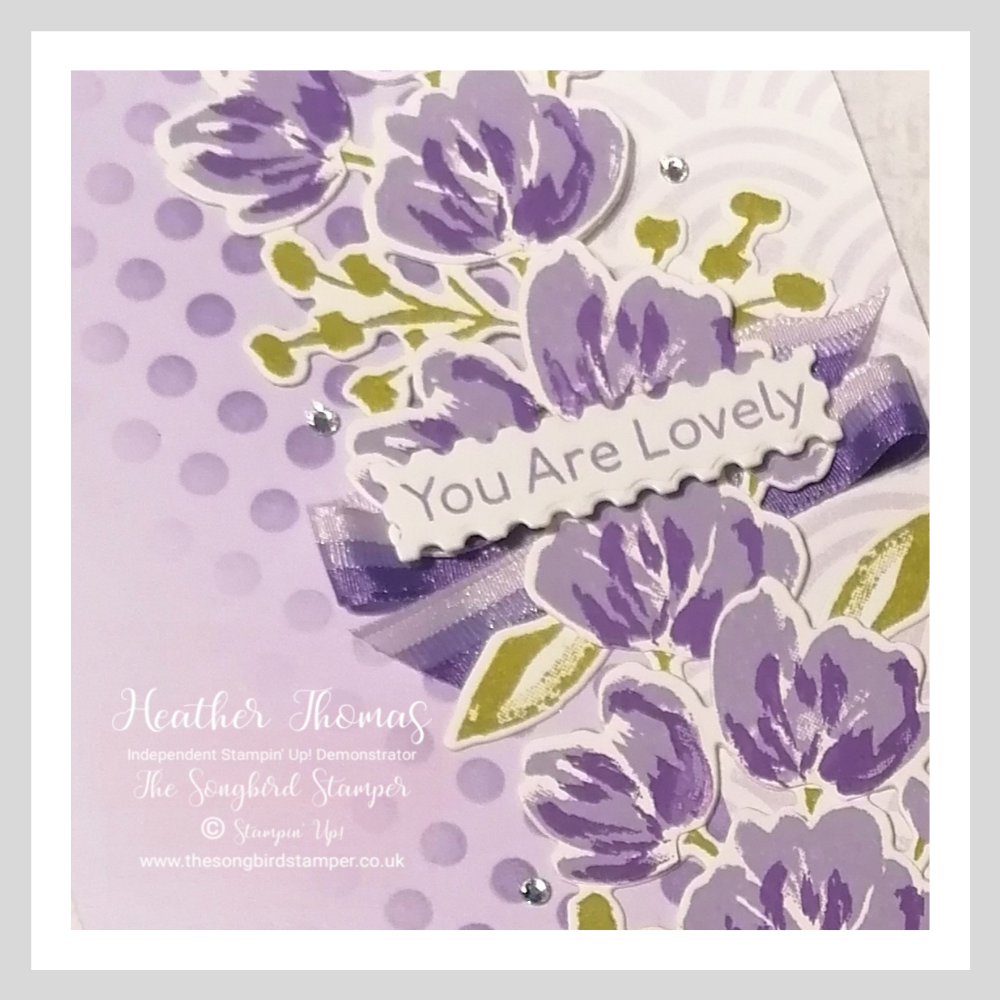 A close up of a handmade card using the Art Gallery stamp set from Stampin' Up!