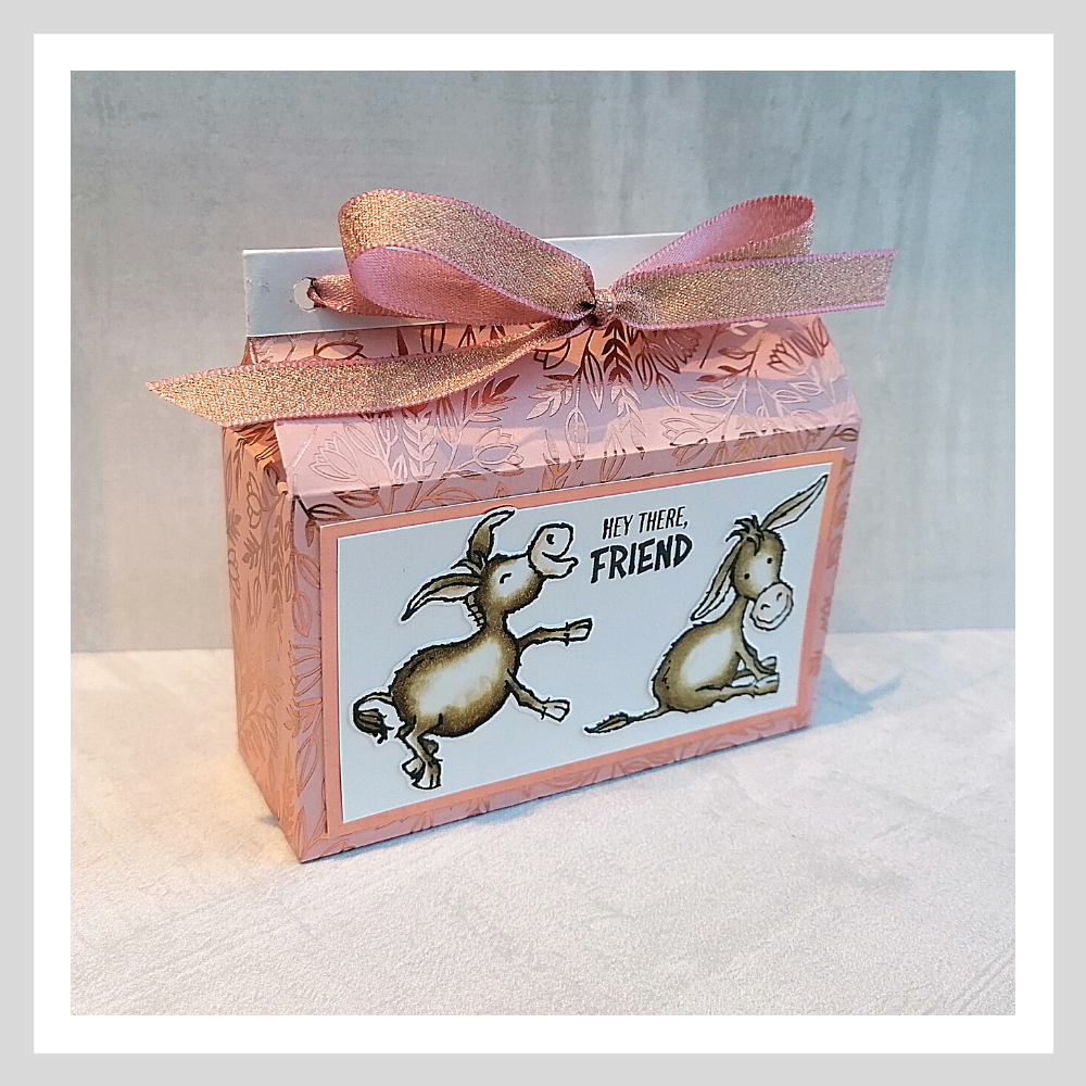 A gift bag made using the Love You Always DSP and the Darling Donkeys stamp set