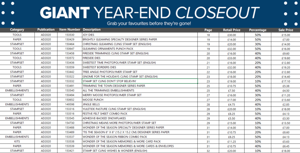 Giant Year End Closeout Sale details