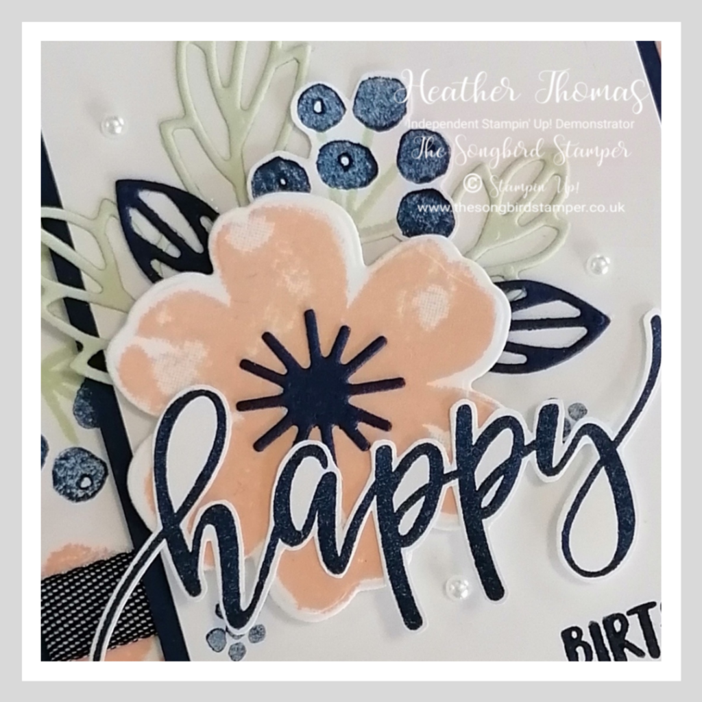 A close up of my card for the #GDP273 Colour Challenge with Pretty Perennials stamps and dies