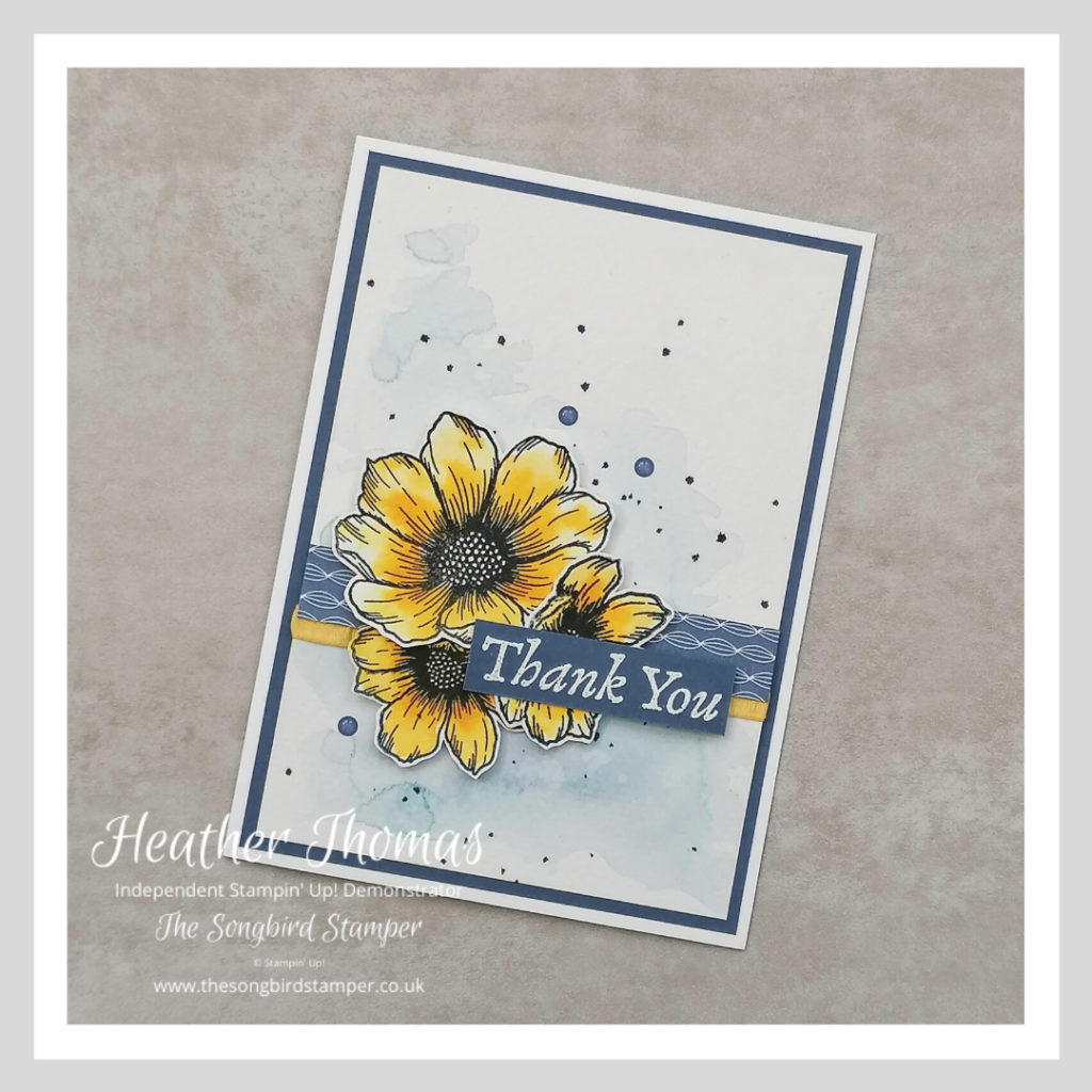 A handmade thank you card  with a watercolour background