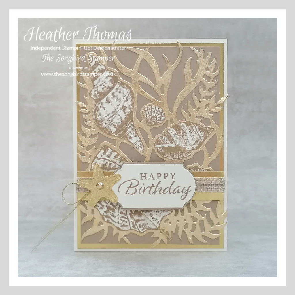 A handmade birthday card made during the how to use and store gilding flakes video.