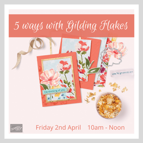 A graphic advertising an online craft class suing Gilding Flakes