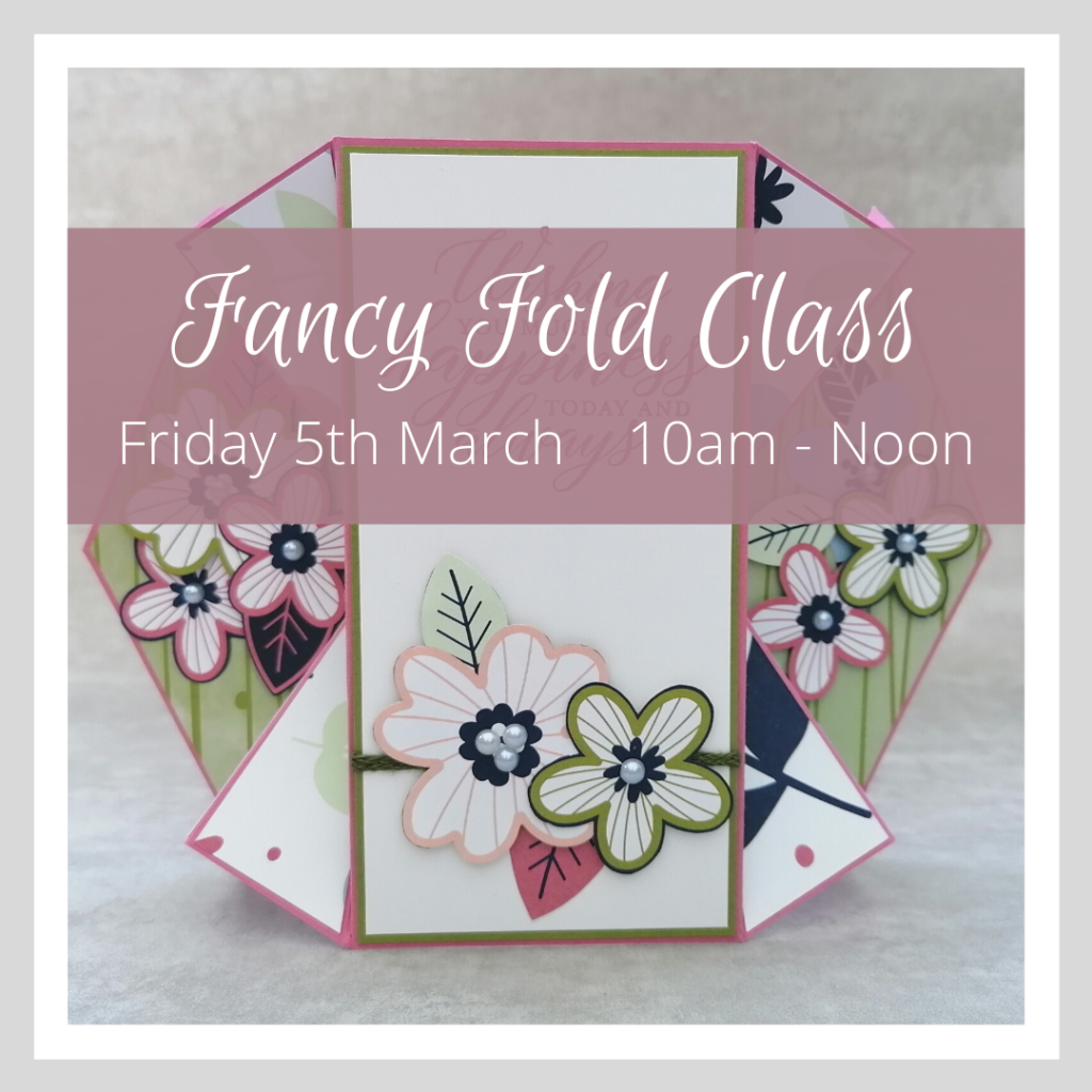 Graphic advertising a Fancy Fold Craft Class, March 2021