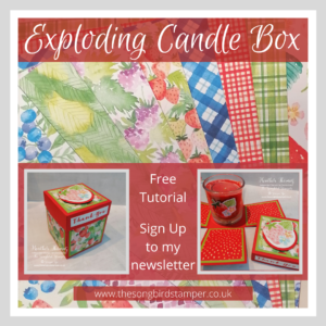 An Exloding Candle Box made using the Berry Delightful DSP from Stampin' Up!