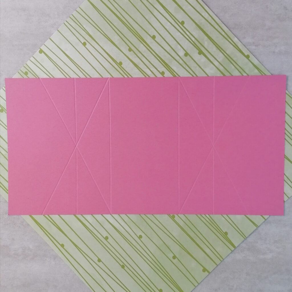 An image showing the score lines of how to make a double diamond fold card