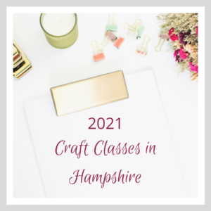 A Graphic of craft supplies witht the text Craft Classes in Hampshire