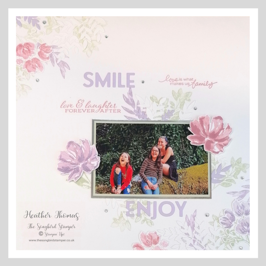 How to scrapbook a single photograph, a layout using the Forever Fern and Art Gallery stamp sets from Stampin' Up!