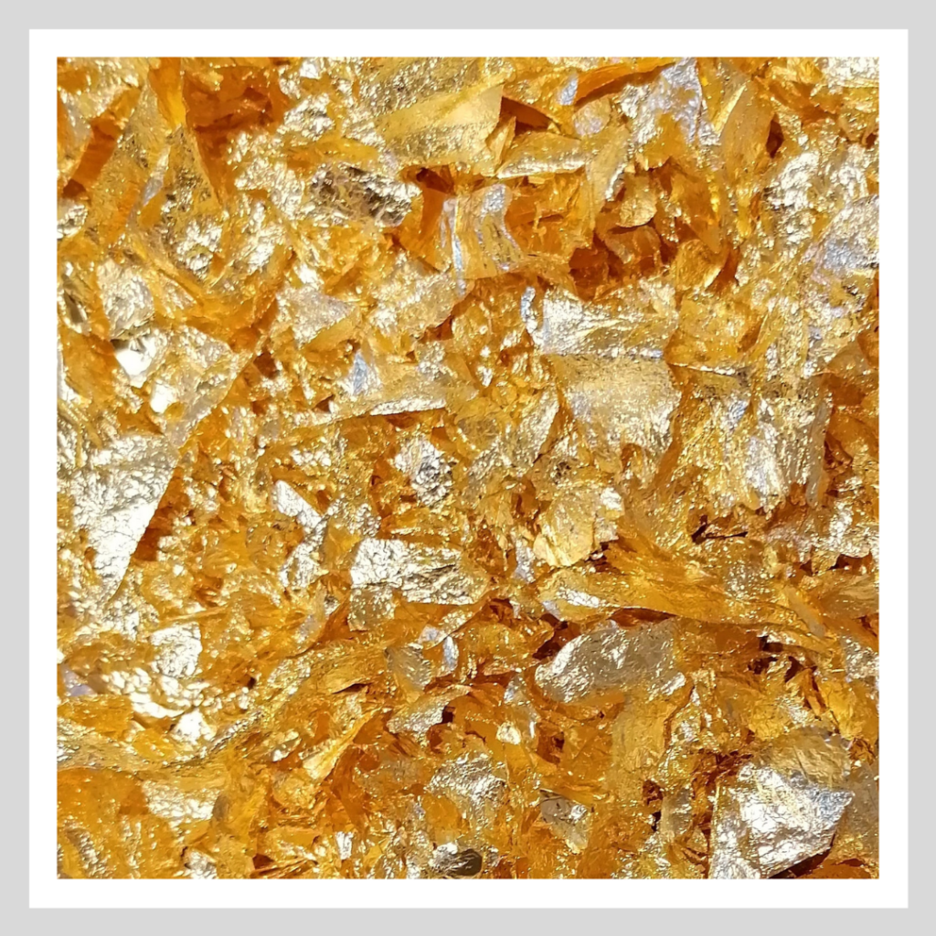 A picture of the gilding flakes that were used in the how to use and store gilding flakes video.