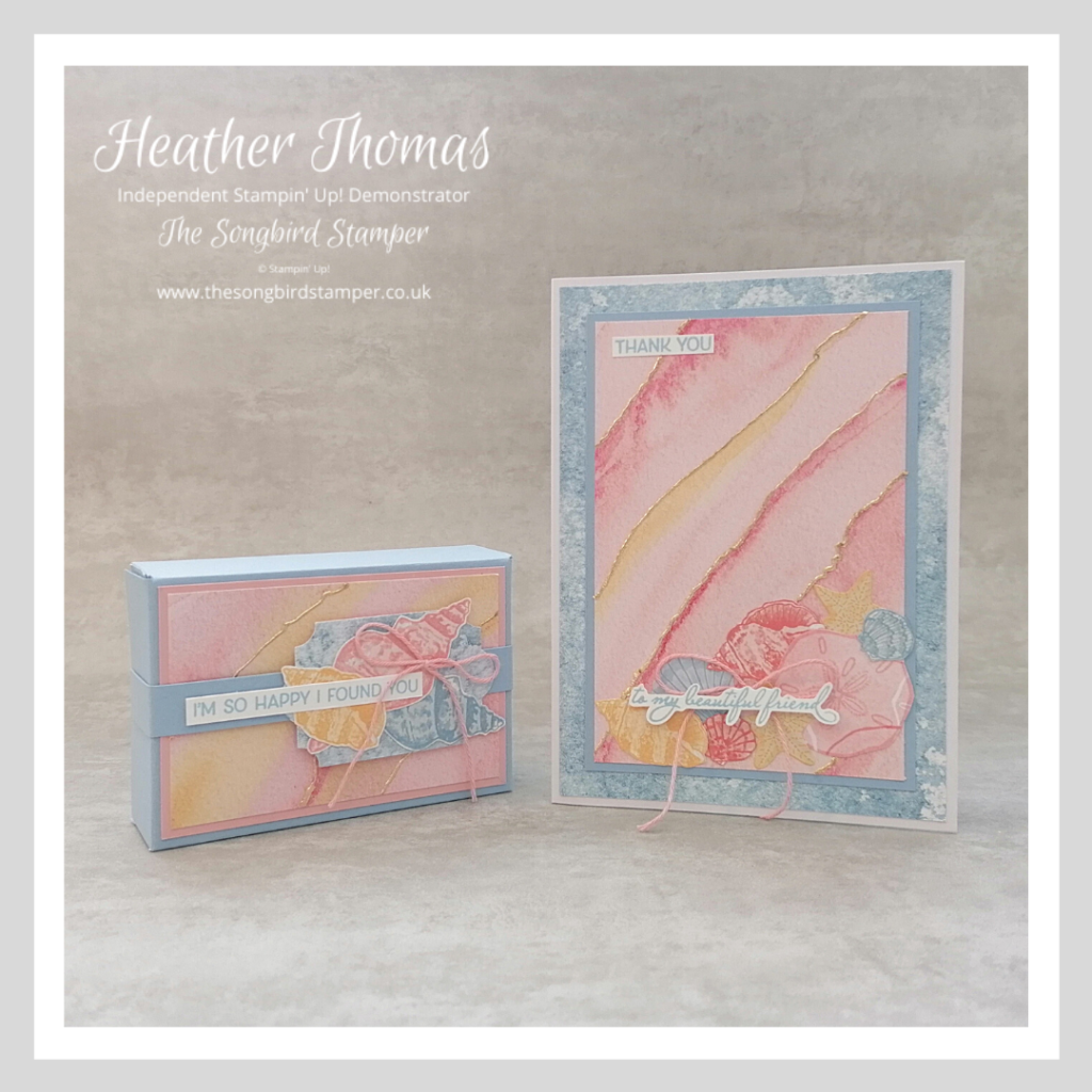 A handmade card and gift box using the Sand and Sea suite from stampin' Up!