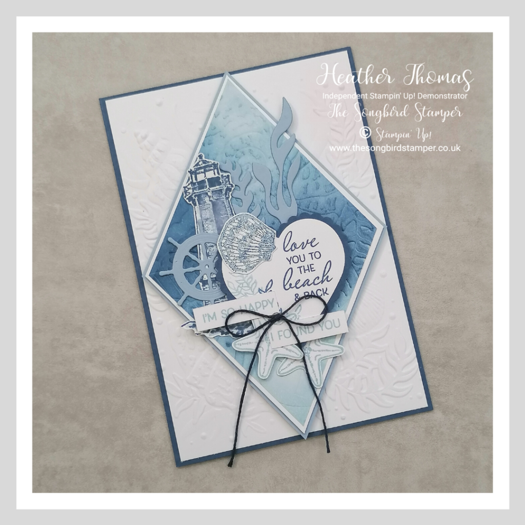 How to make a handmade Valentine's day card for men using the blues and whites and with a nautical theme
