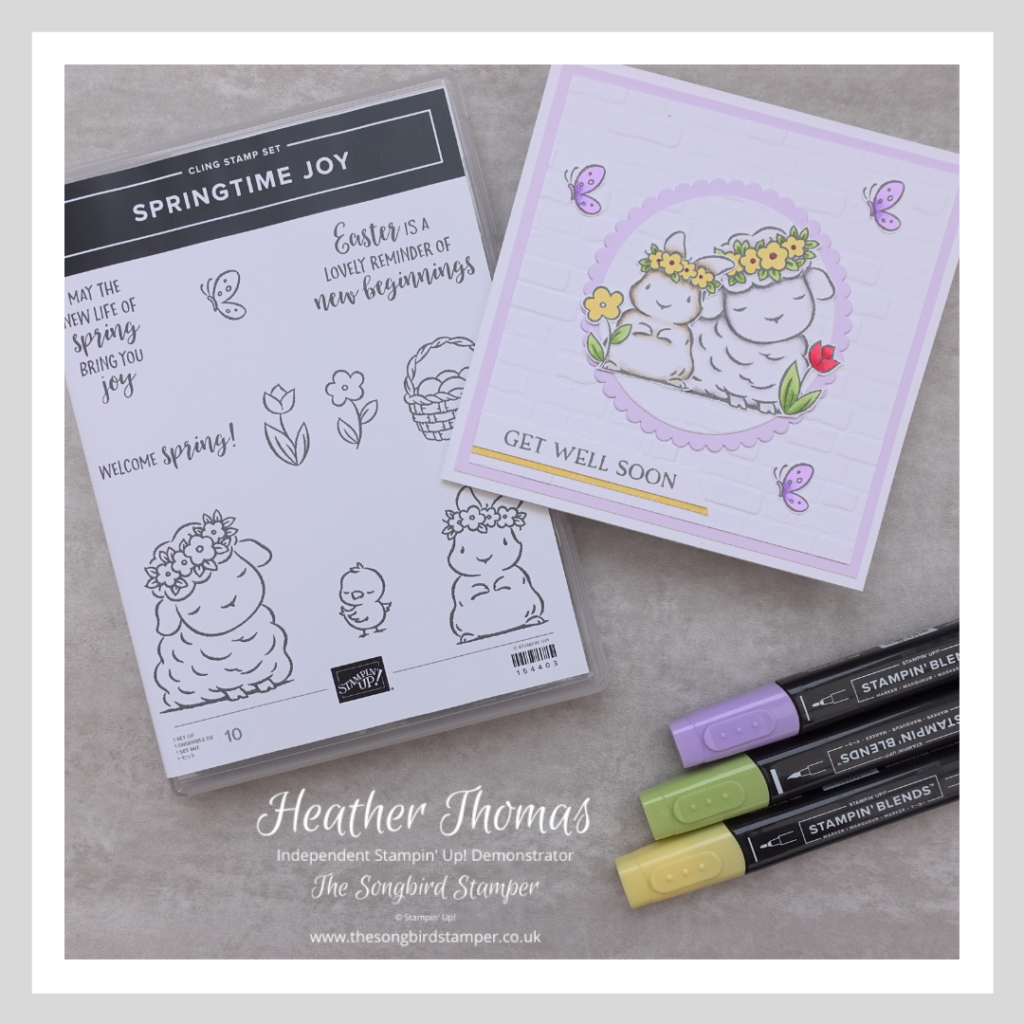 A picture of the Springtime Joy stamp set by Stampin' Up! and a card made for this week's Theme Challenge by the Global Design Project