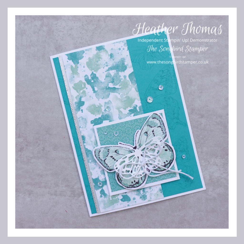 A handmade card in turquoise made using the products from the Butterfly Bouquet Collection from Stampin' Up!
