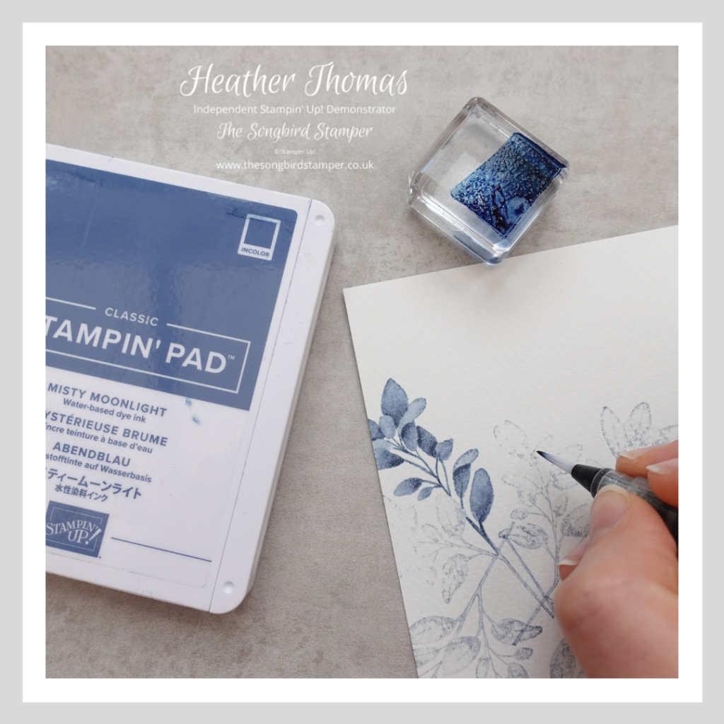 A Step-by-Step of how to use no-line watercolouring in cardmaking - colour in using a water painter