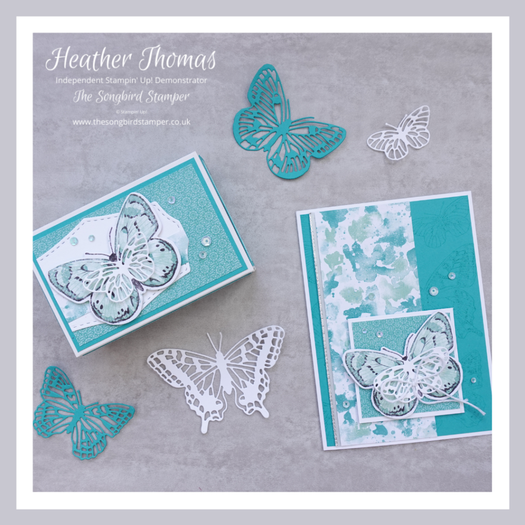 A card and a gift box made using the products from the Butterfly Bouquet Collection from Stampin' Up!