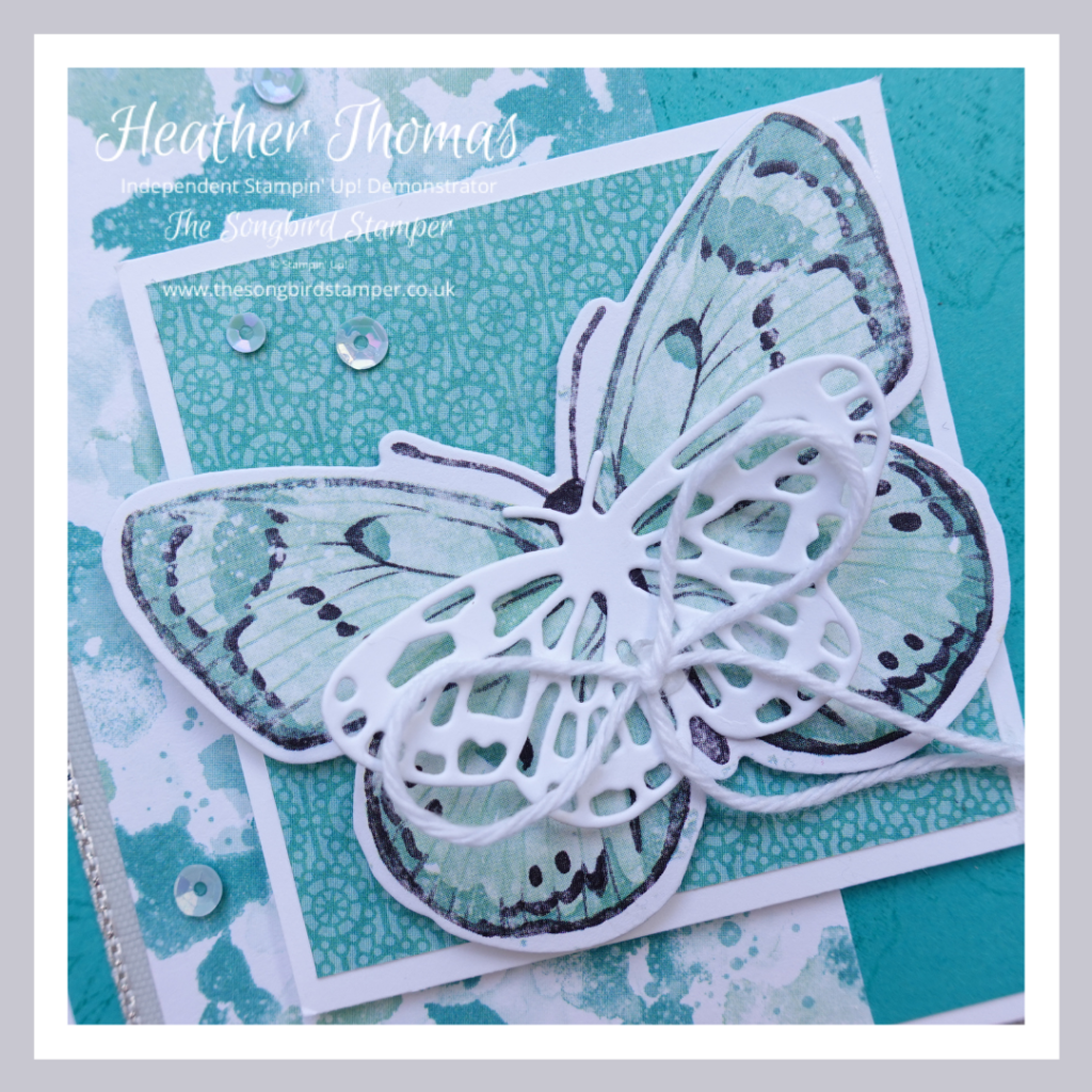 A close up of a turquoise card made using the products from the Butterfly Bouquet Collection from Stampin' Up!