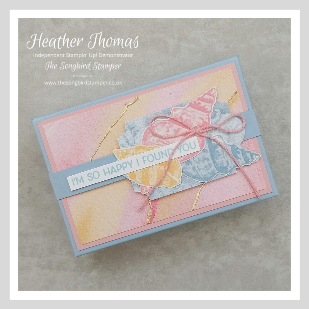 A handmade gift box using the Sand and Sea suite from Stampin' Up!