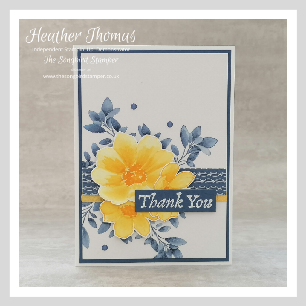 A blue and yellow thank you card using the no-line watercolouring technique