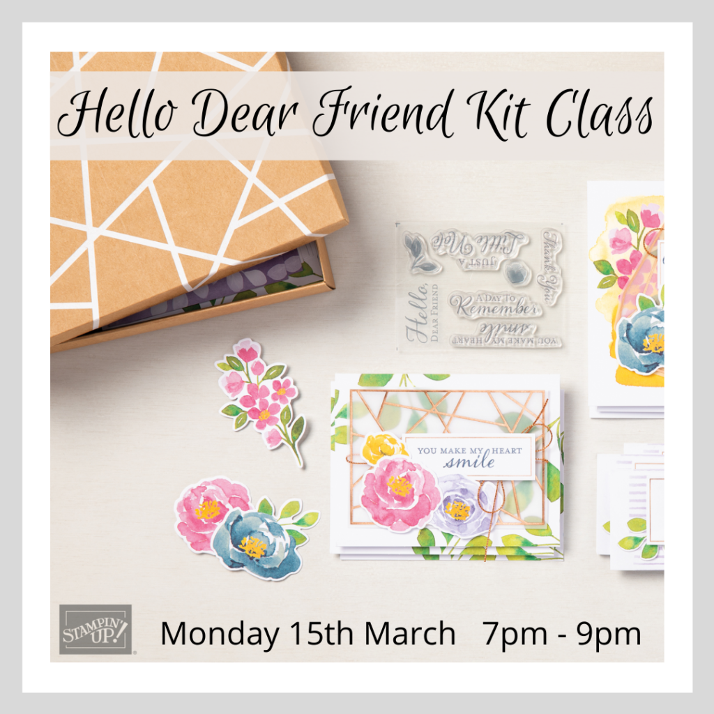 A graphic promoting an online craft class using the Hello Dear Friend kit from Stampin' Up!