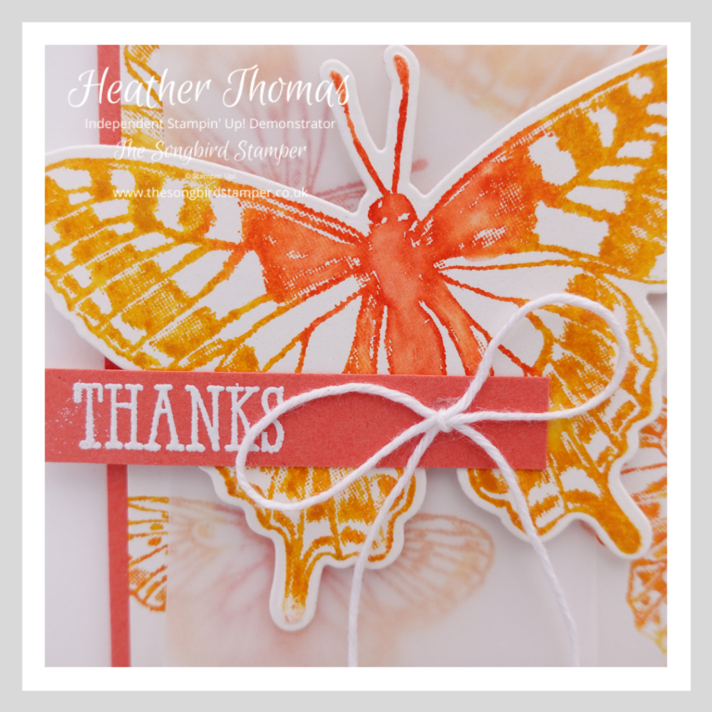 A close up of a handmade card using an easy watercolour effect and the Butterfly Brilliance stamp set from Stampin' Up! It shows a yellow/orange butterfly with the word thanks.