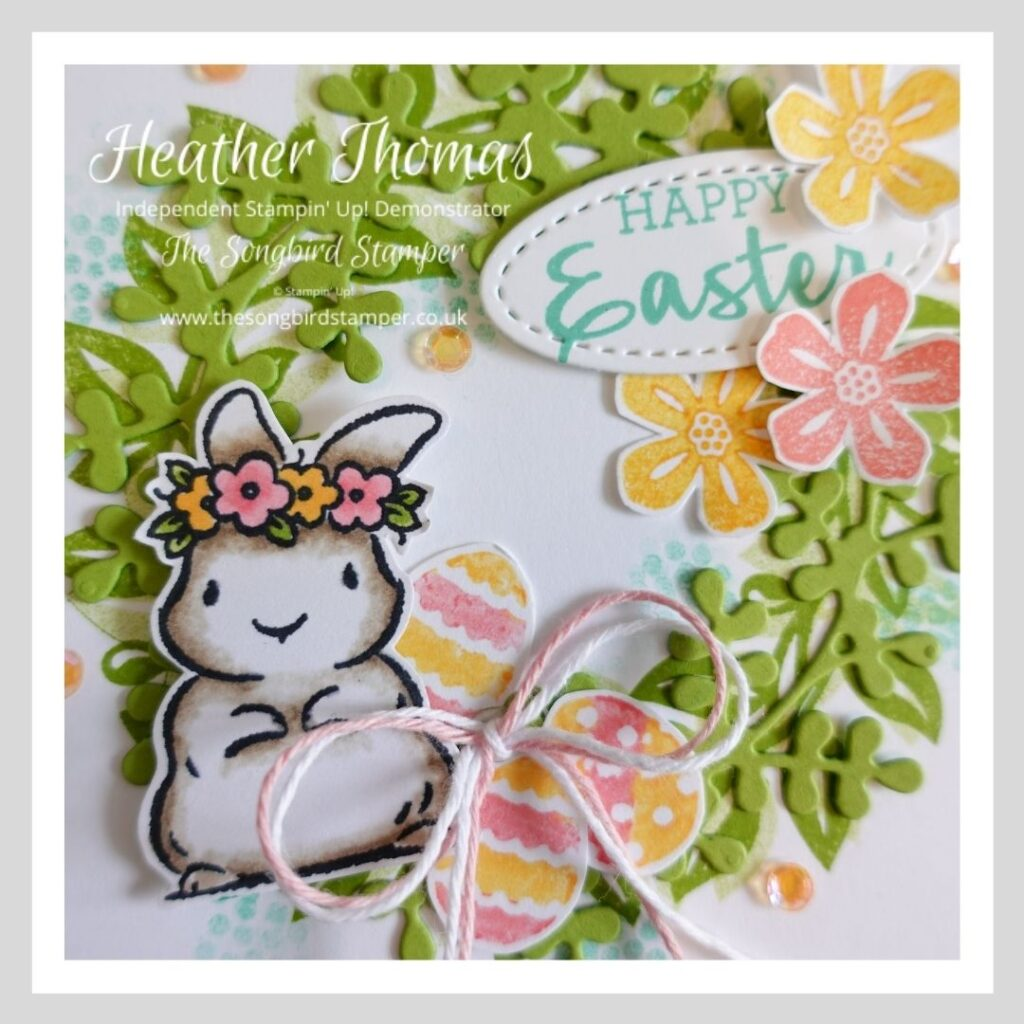 A close up of an Easter card, showing how to make a handmade Easter Card