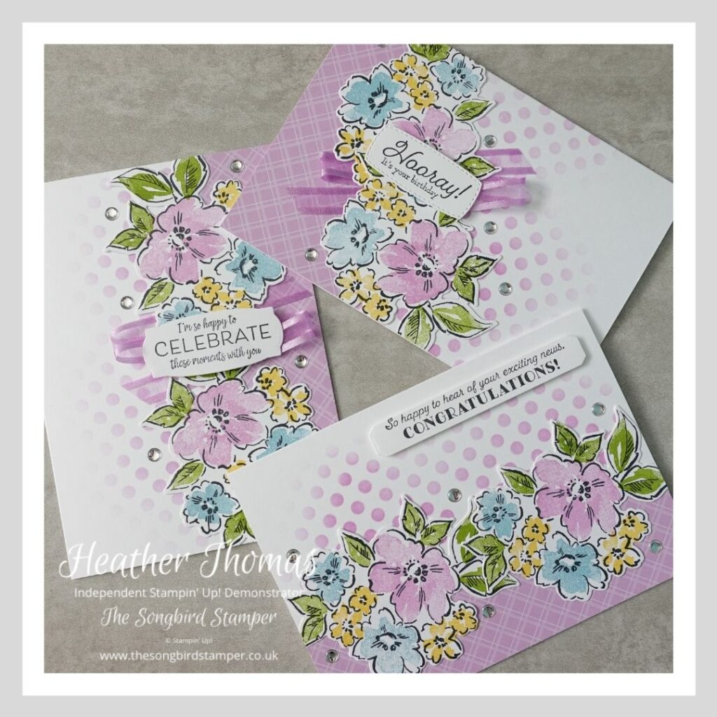 A trio of cards made in purple and white featuring the Hand Penned Petals stamp set and designed to show how you can make three cards from one layout