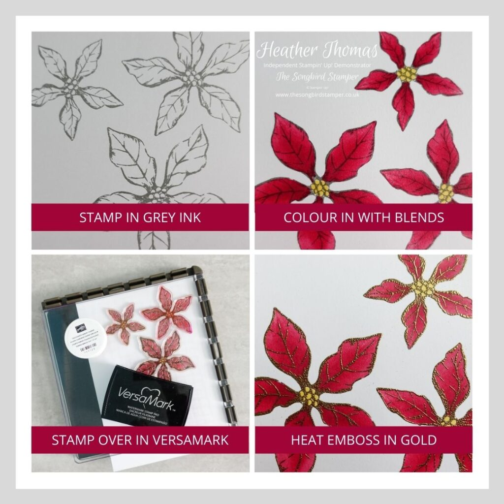 My step by step image showing how to use alcohol markers with heat embossing