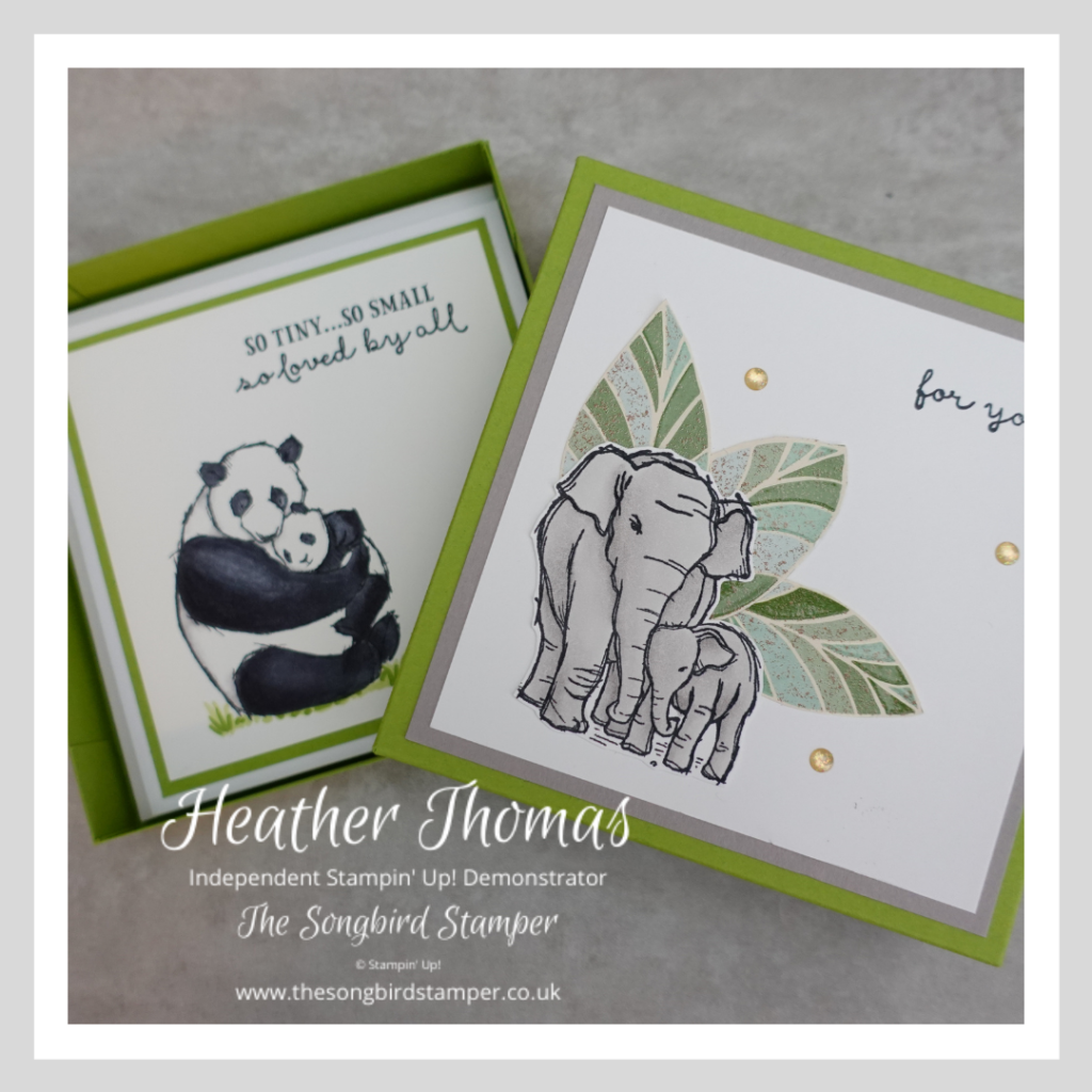 A box of handmade cards made using the Wildly Happy Stamp set from Stampin' Up!