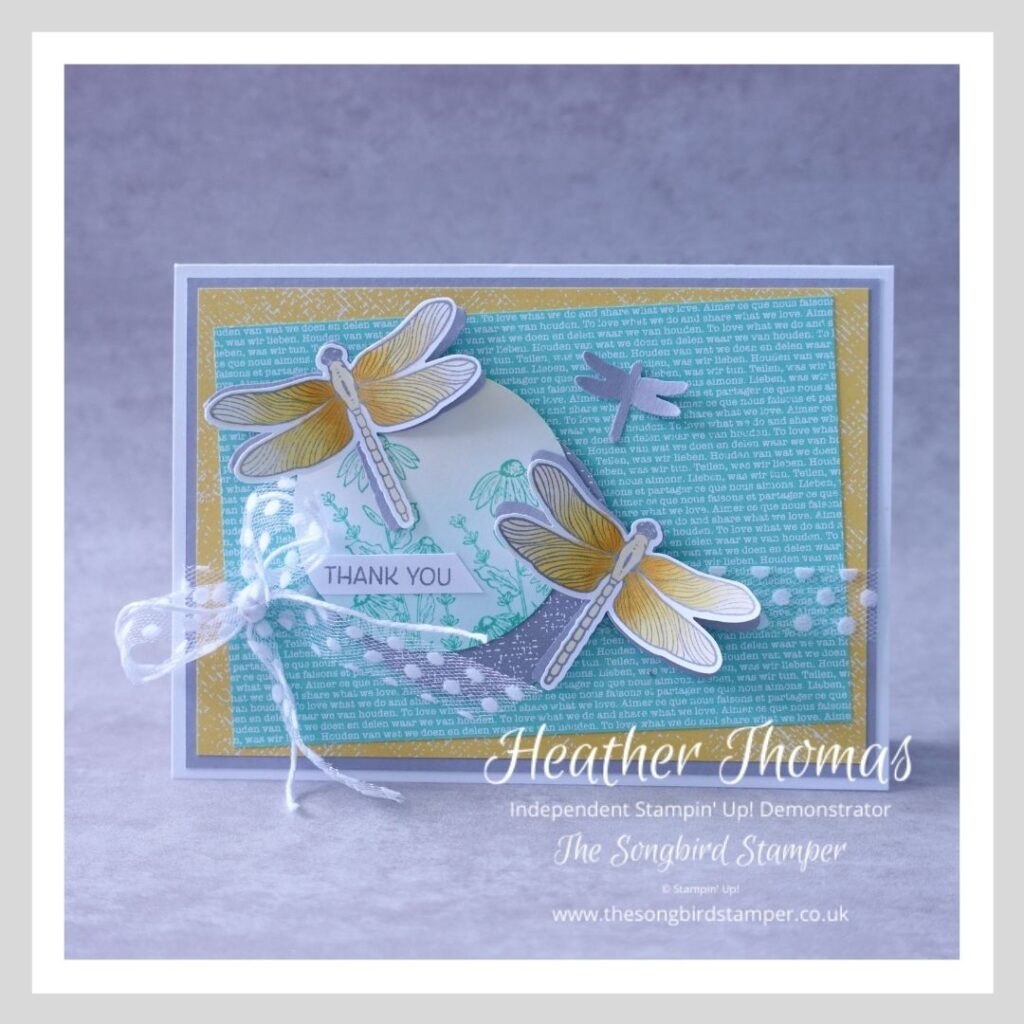 A handmade card with dragonflies in grey, turquoise and yellow, showing how easy and fun it can be creating from a sketch challenge