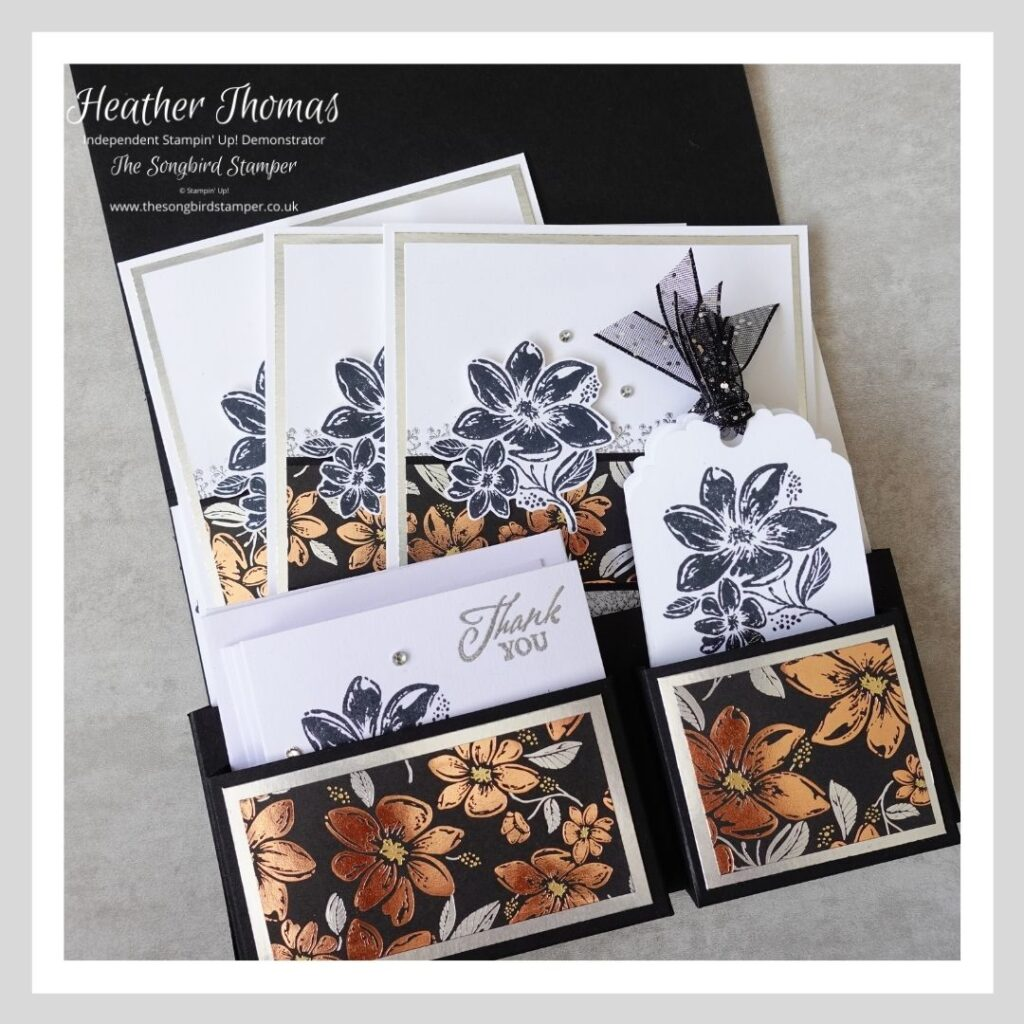 The inside of a handmade card and gift tag set in black and metallics using the Simply Elegant suite from Stampin' Up!