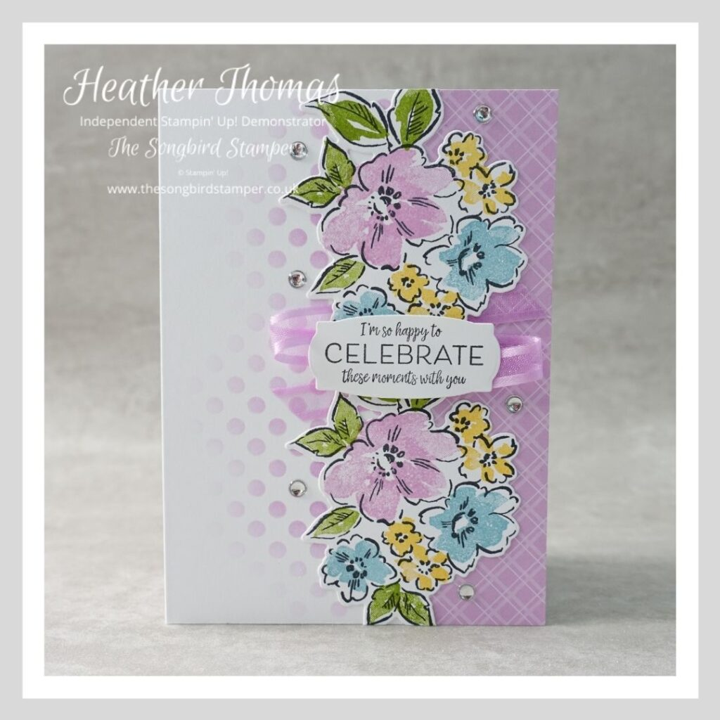 A handmade card in purple and white using the Hand Penned Petals stamp set from Stampin' Up! and designed to show how you can make three cards from one layout.