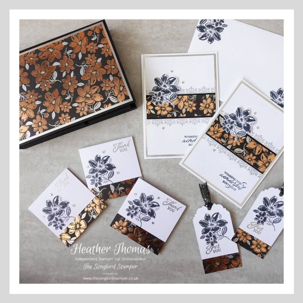 All the components of a handmade card and gift tag set, using the Simply Elegant suite from Stampin' Up!